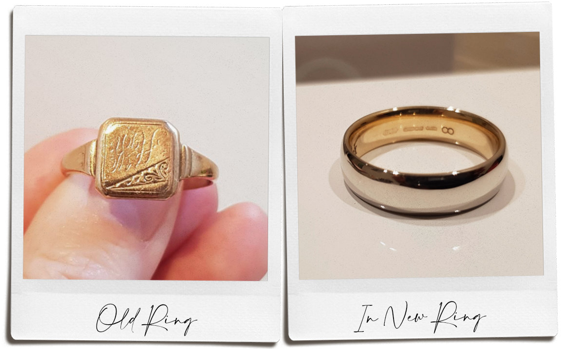 Left hand image of old gold signet ring which is melted and incorporated into new wedding ring in right hand image. This is double sleeving.