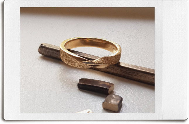 Old gold jewellery melted into bar and made into new gold wedding ring.