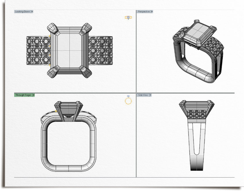 CAD elevations showing ring layout with square shank to stop ring spin on finger.