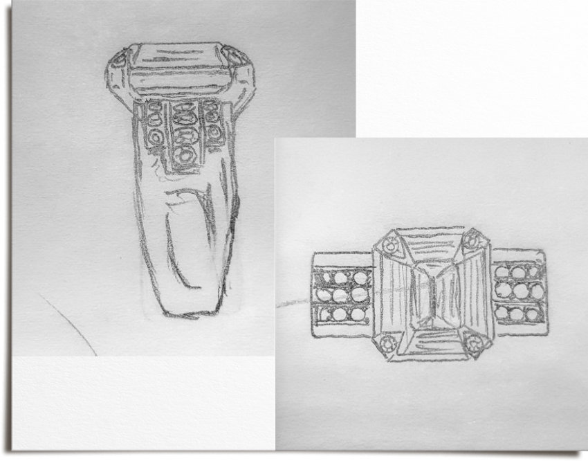 Preliminary ring sketches showing outline for art deco inspired ring with side diamonds.