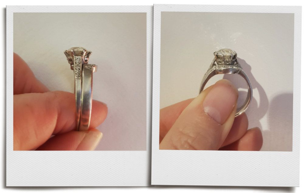 Original wedding ring fused with engagement ring with very worn shank