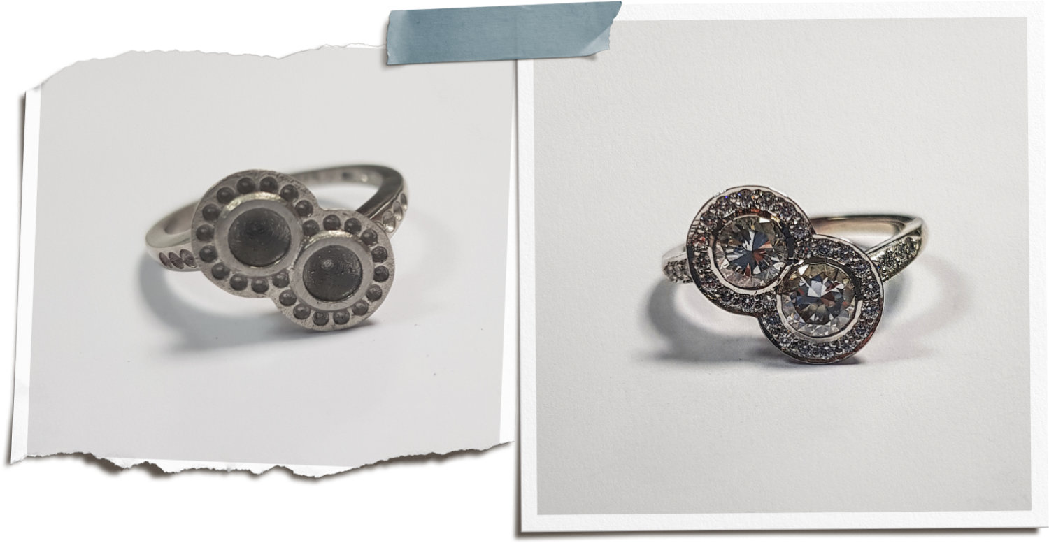 Left image showing a cast thread and grain set ring before setting with no details. Right hand showing same ring finished by goldsmith.