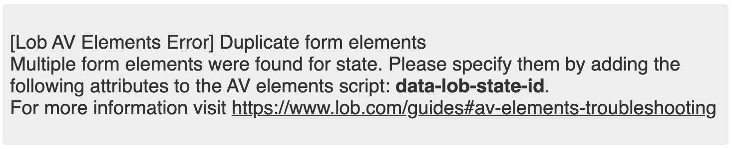 screenshot of duplicate element error