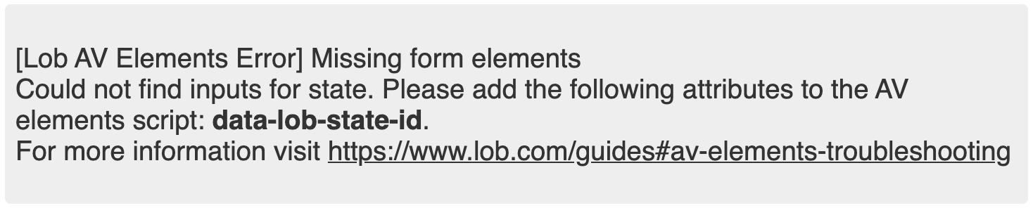 screenshot of missing element error