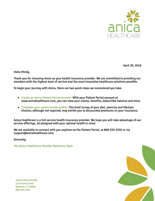 Welcome With Next Steps Letter