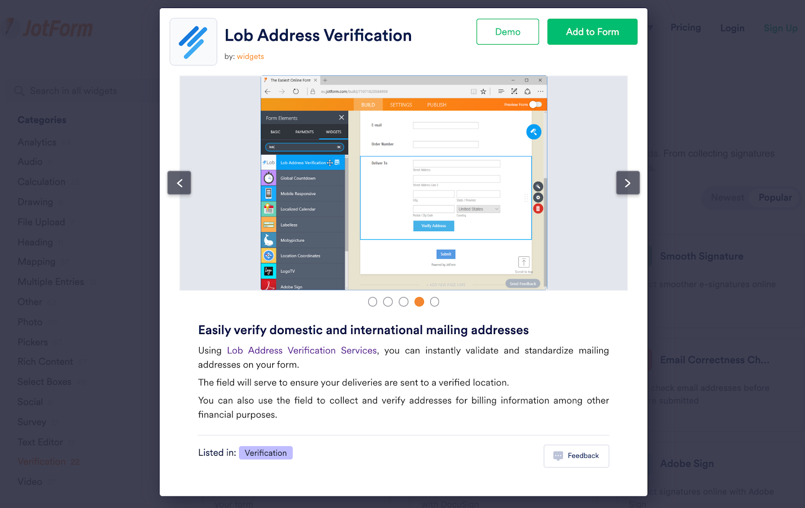 Screenshot detailing how to enable Lob in Jotform