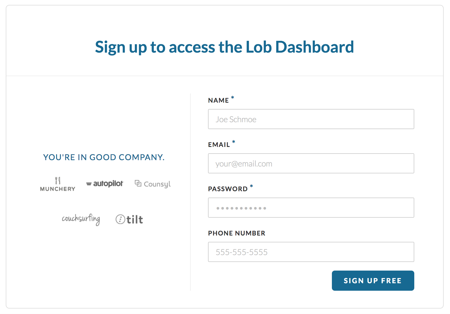 lob registration page