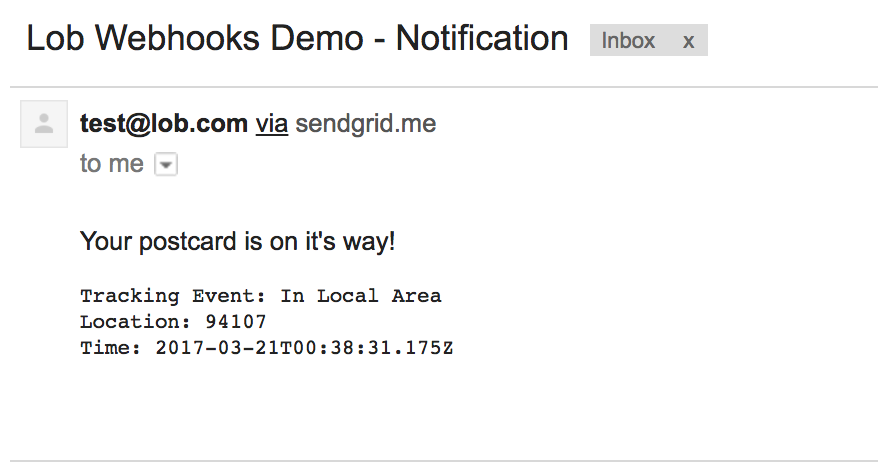 sendgrid email notification