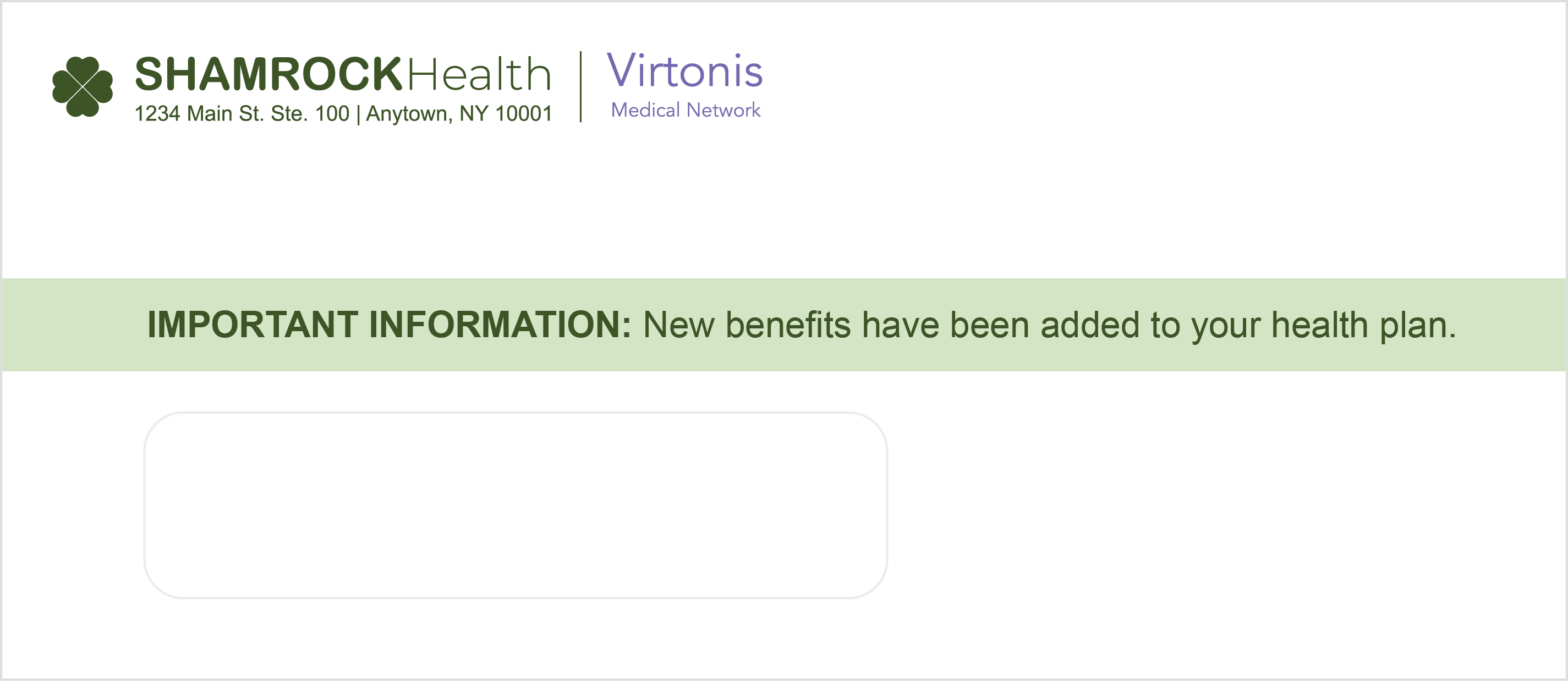 Healthcare Benefits Outer Envelope