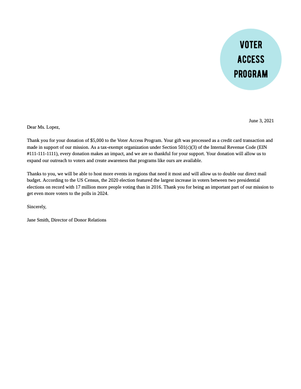 Donor & Grant Acknowledgement Letter