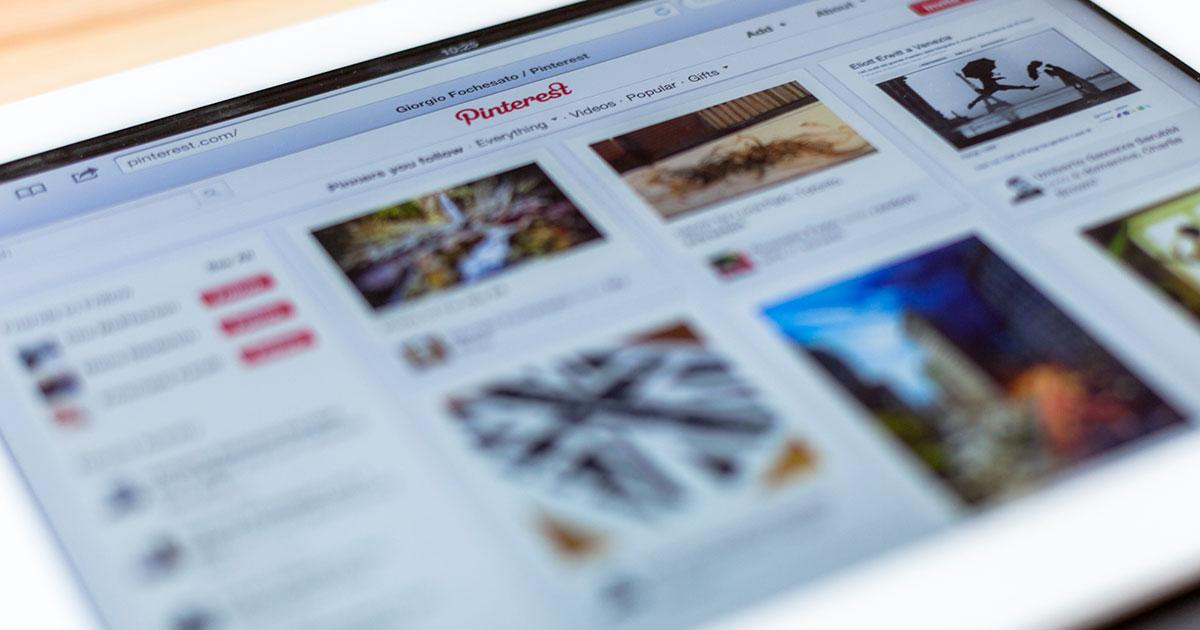 Pinterest website on smart device.