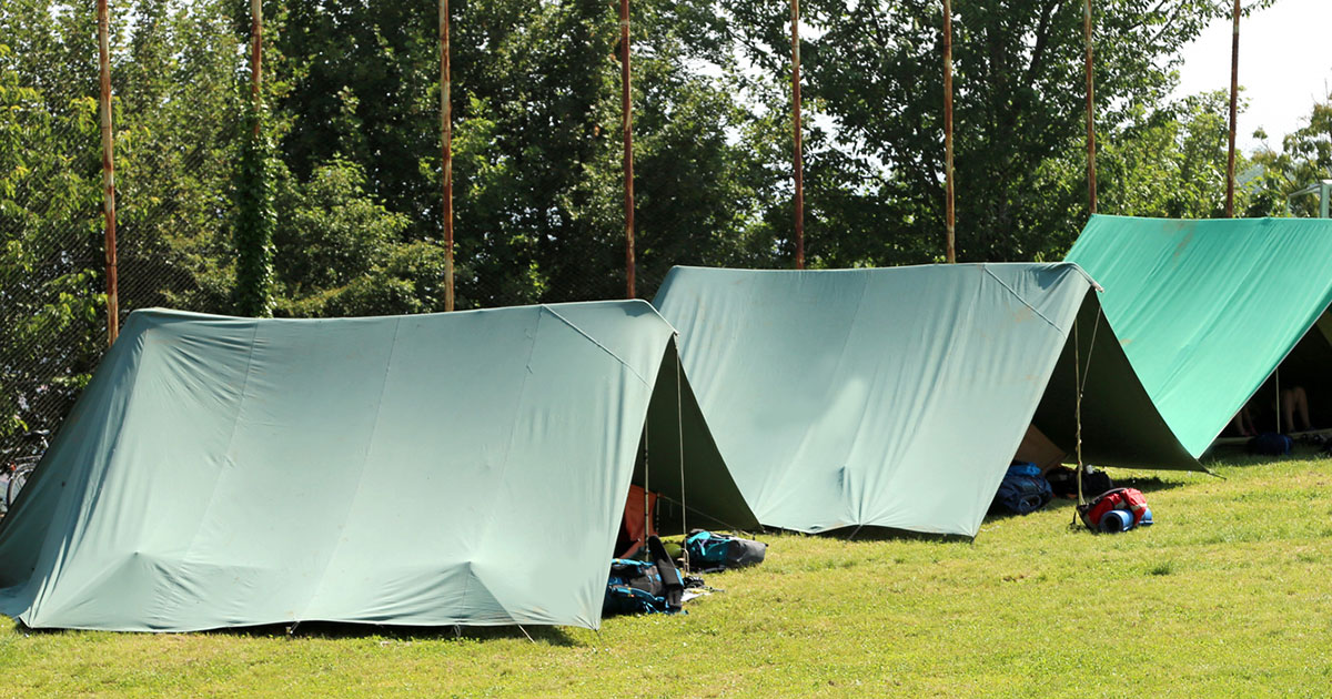 Camping tents on green grass.