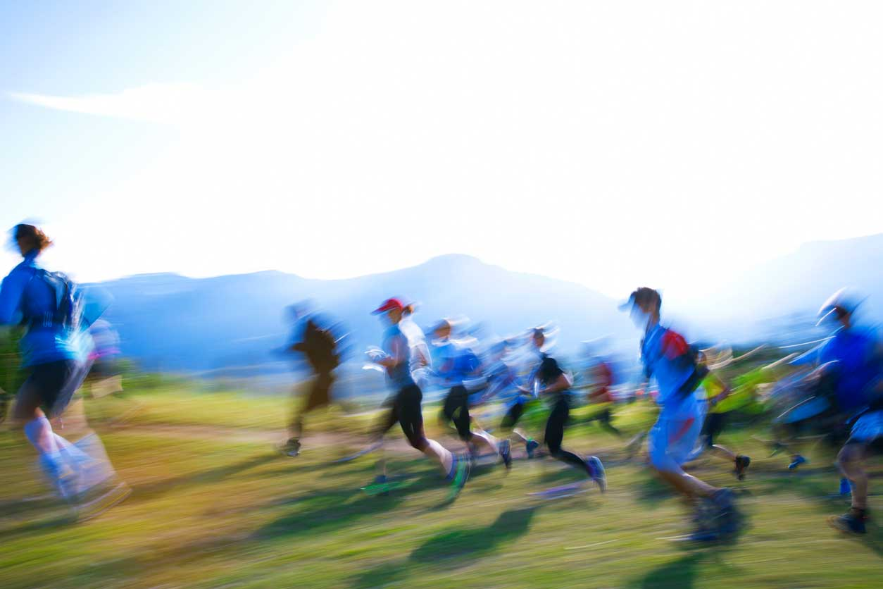 group of people running race