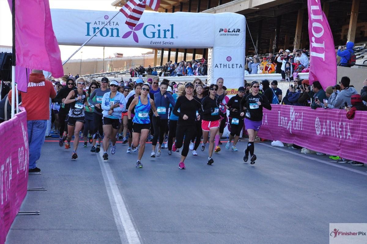 Iron Girl start line at race