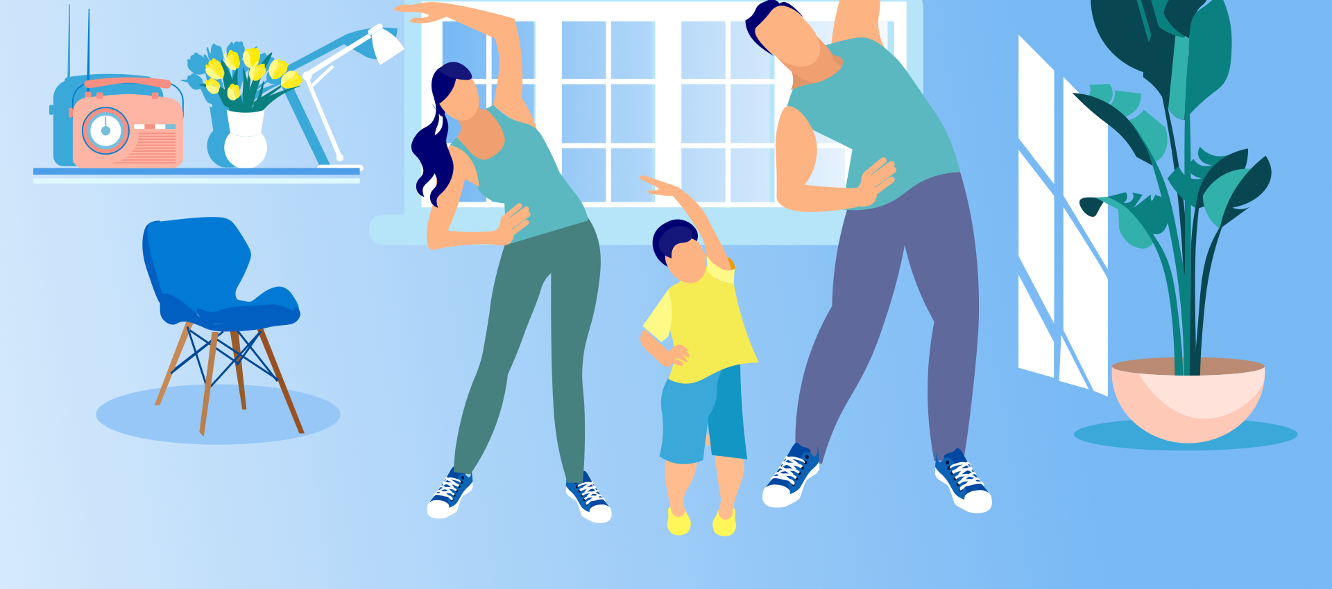 Parents exercising with their child in blueish tint room.