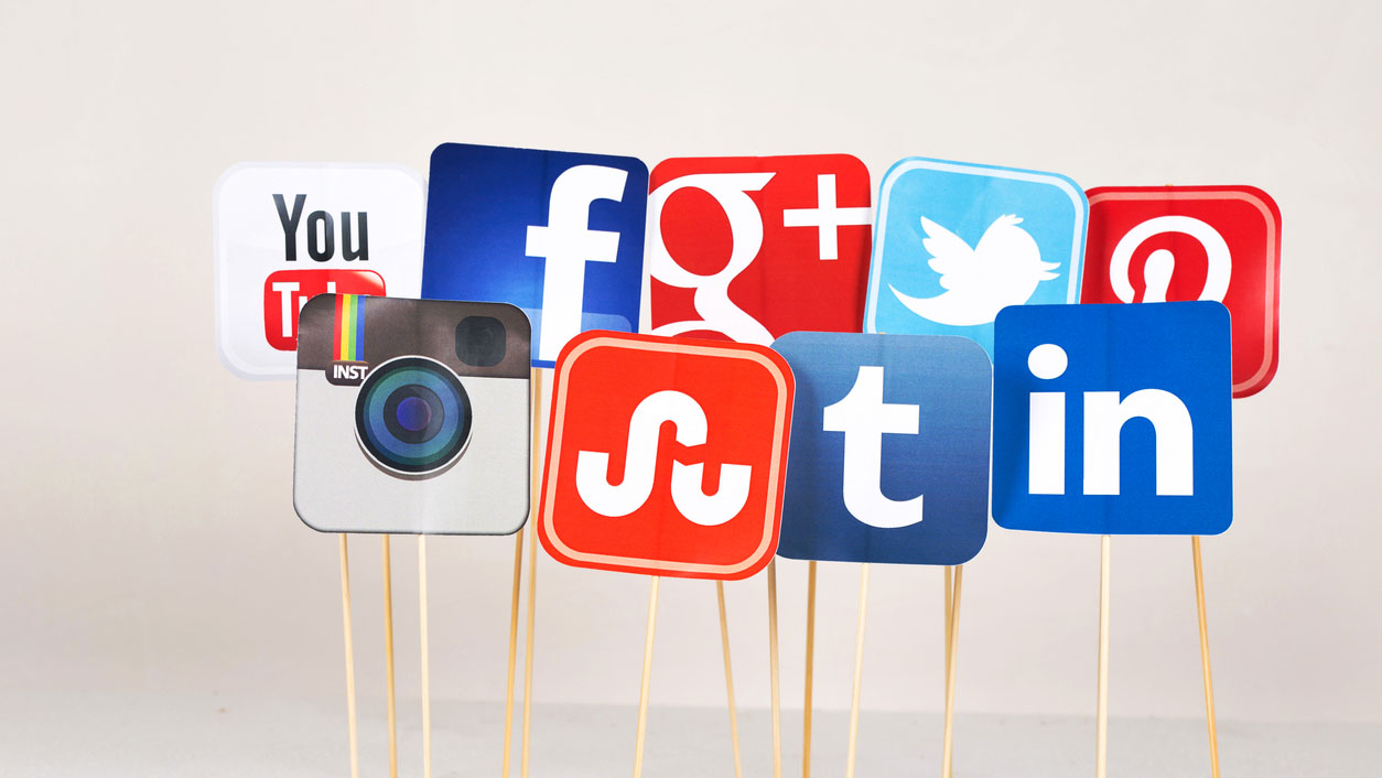 Social media icons on sticks.