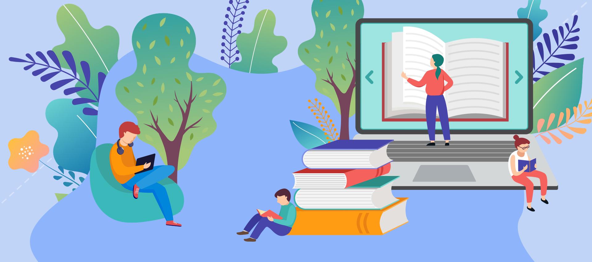 illustration showing virtual learning