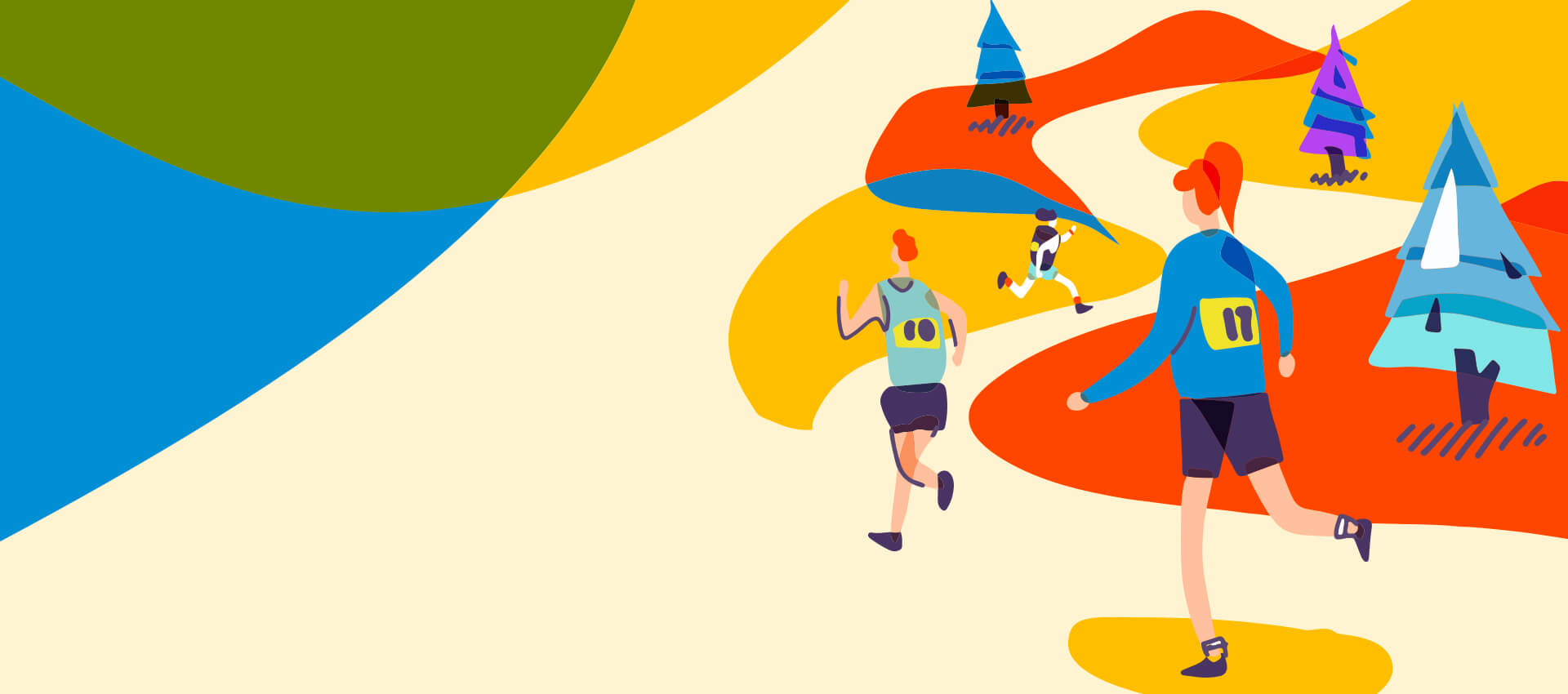 turkey trot illustration of people running with vibrant fall colors