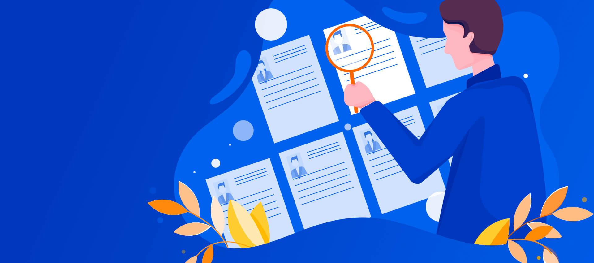 illustration of hiring manager looking at resumes