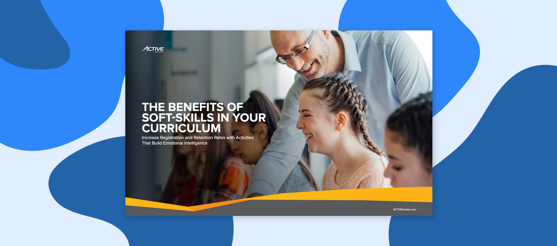 abstract graphic with the cover of the skills for scholarships download