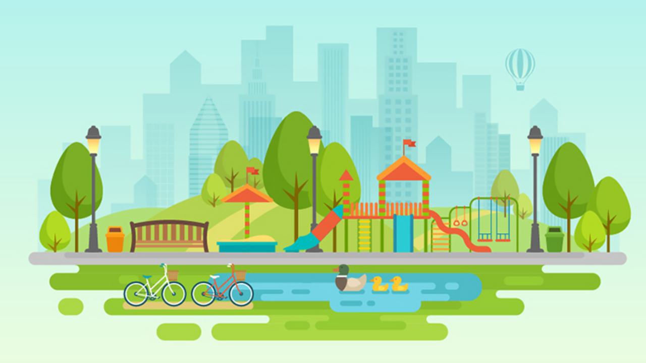 illustration of a kids park in front of a cityscape.