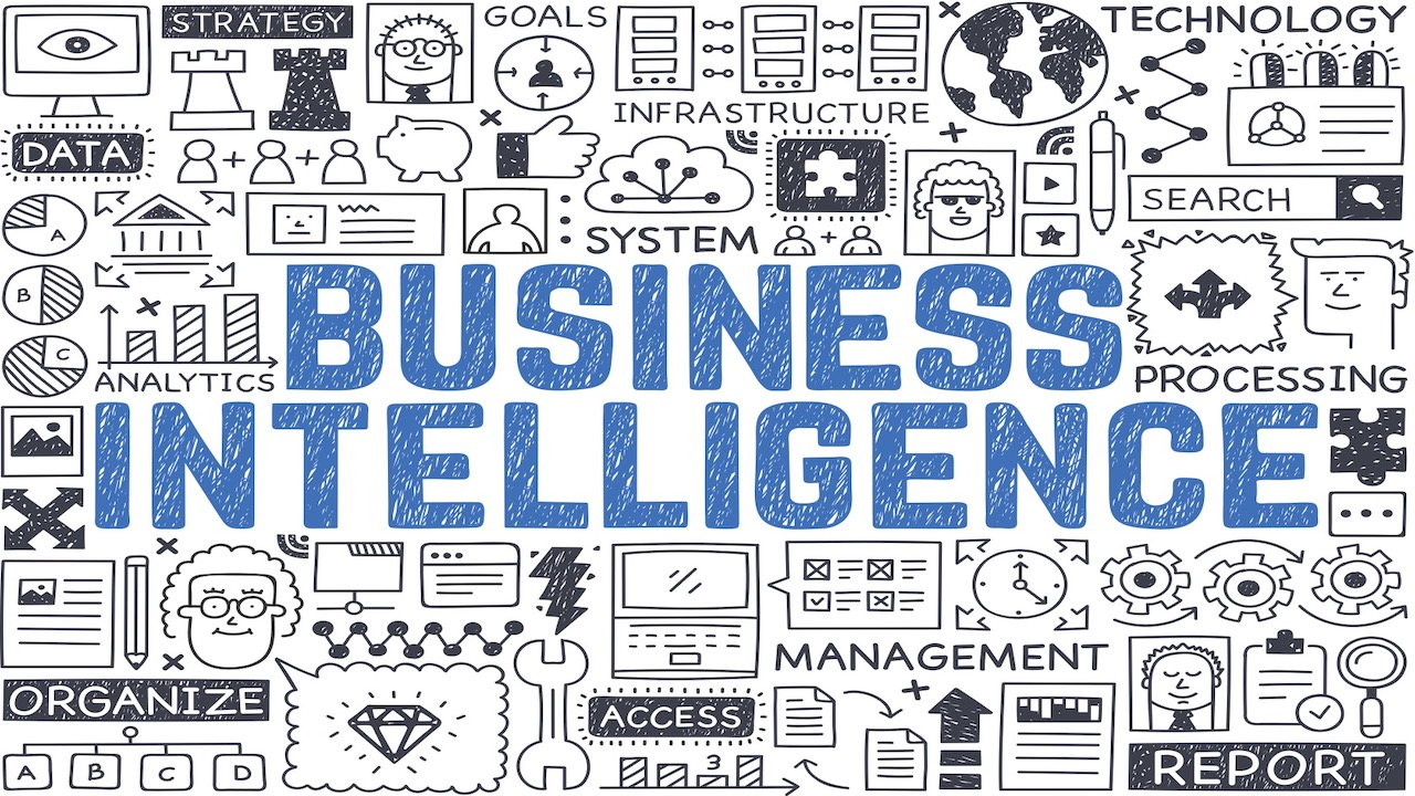 Business Intelligence spelled out in blue writing with imagery and words related to it.