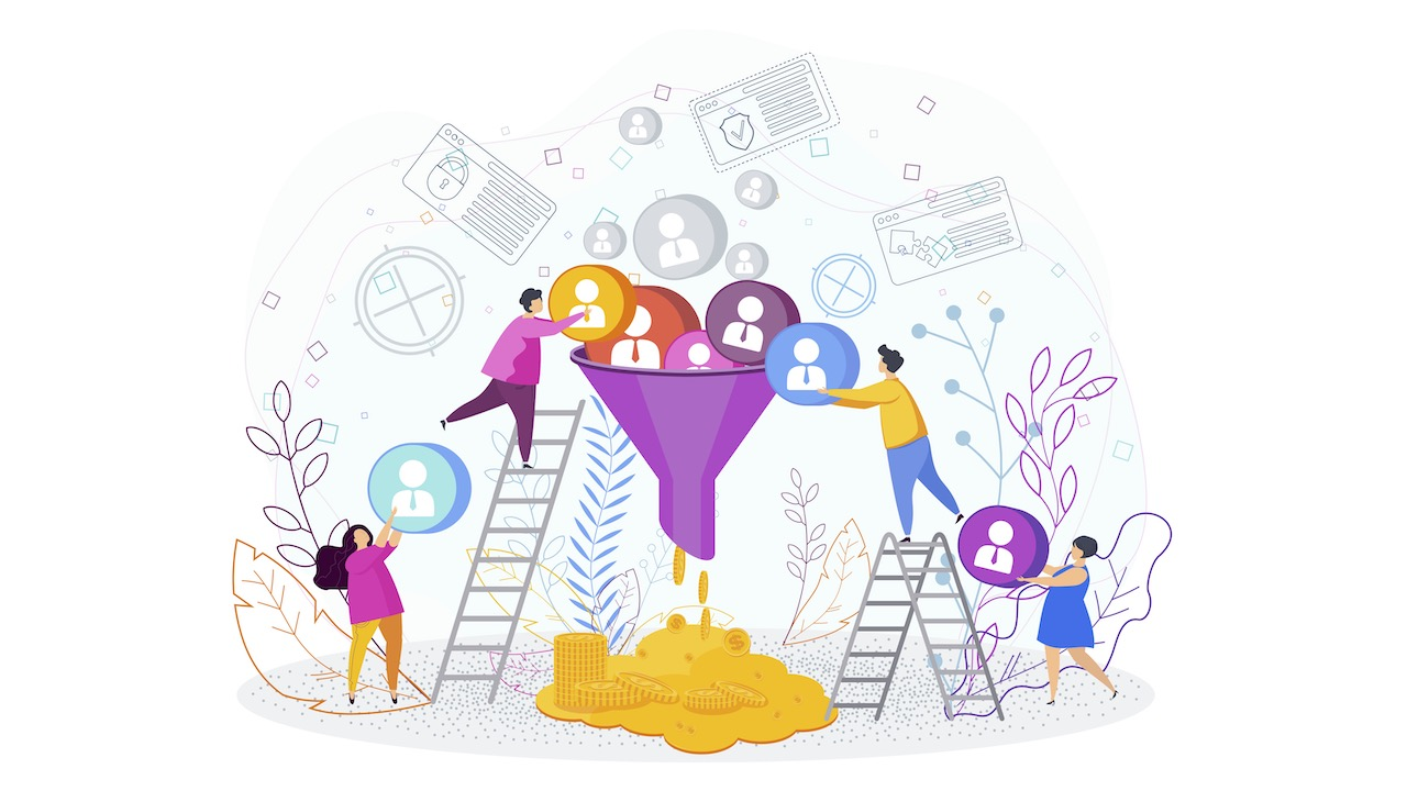 Illustration of people putting icons into a funnel and money coming out.