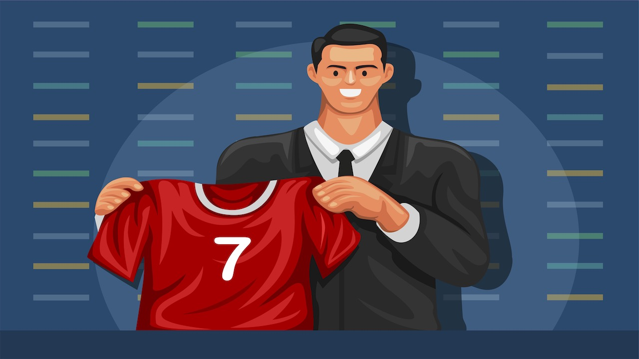 Illustration of a recruit holding up a football jersey.
