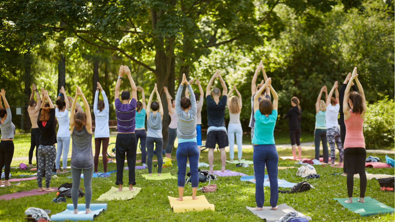 Group of people doing yoga in the park.