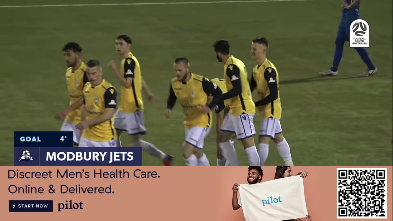 Pilot advertisement shown with automated goal event graphic powered by LIGR.Live