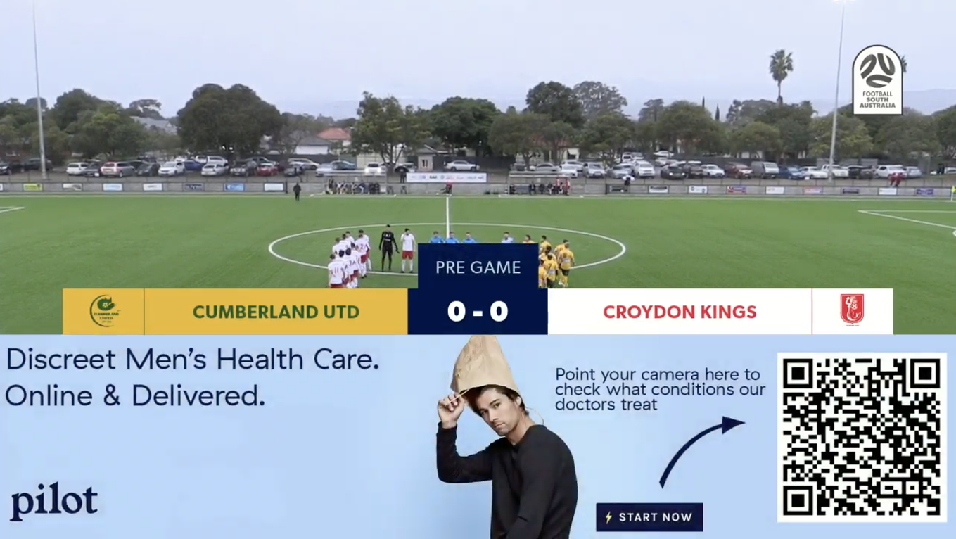 Pilot advertisement shown with automated graphics powered by LIGR.Live