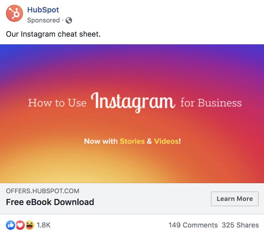 Hubspot sponsored ad