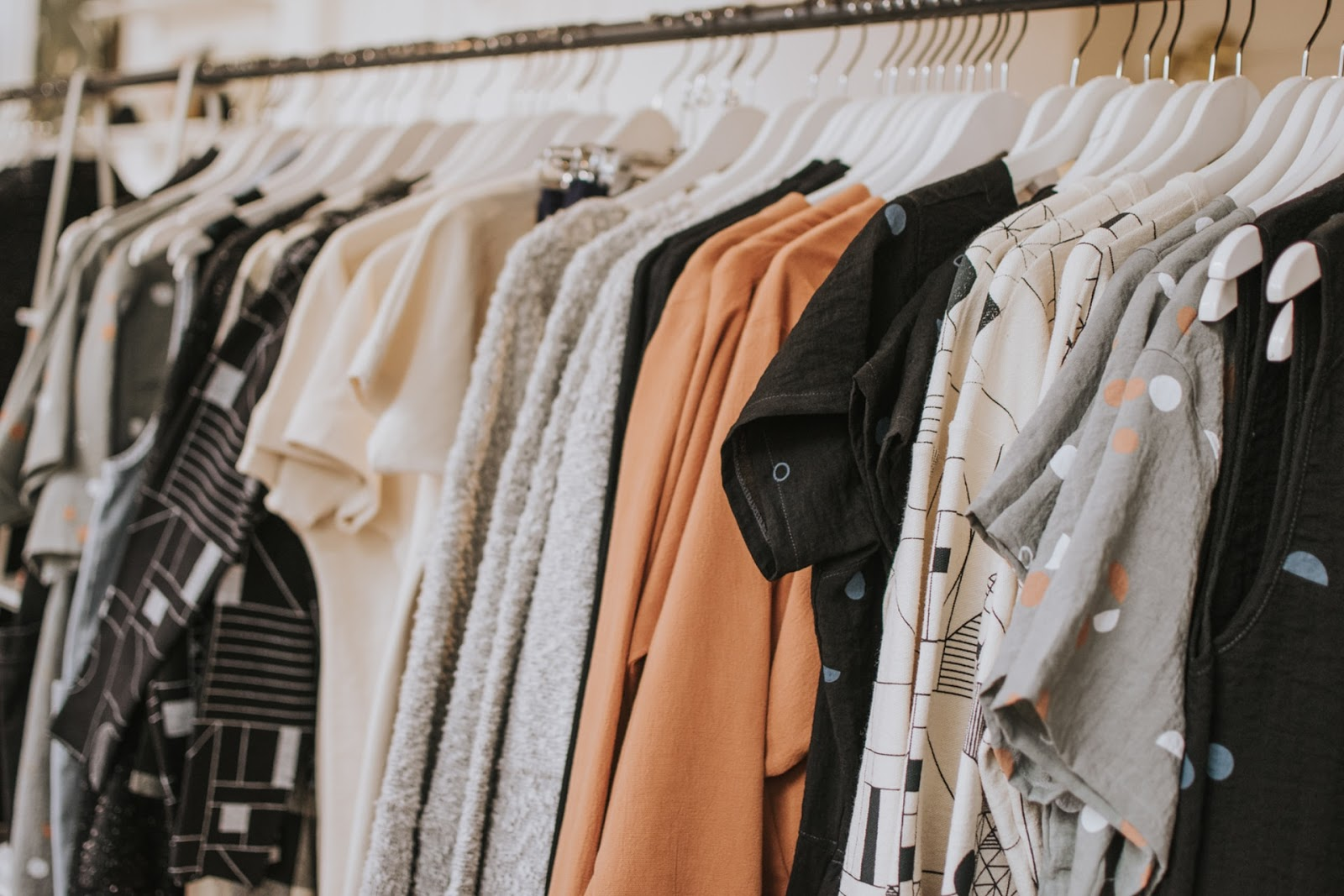 rack of stylish clothing