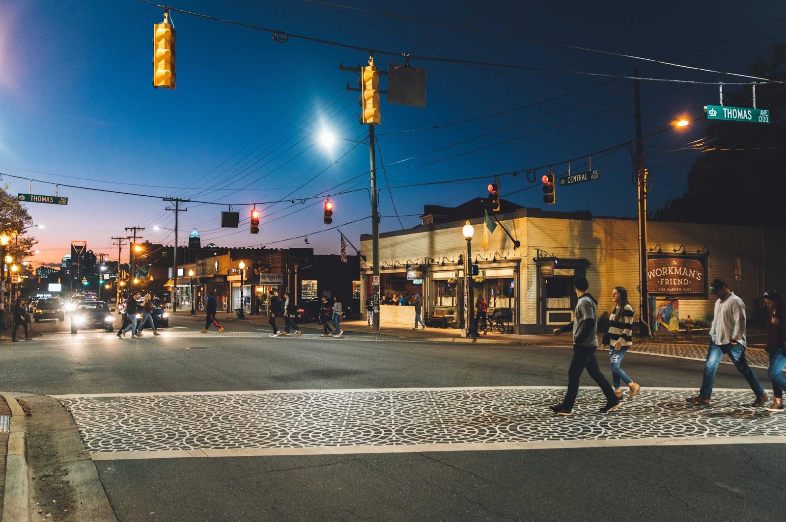 An intersection in the Plaza Midwood neighborhood of Charlotte, photo via charlottesgotalot.com