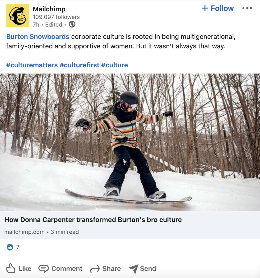 mailchimp linkedin post featuring snowboarder
