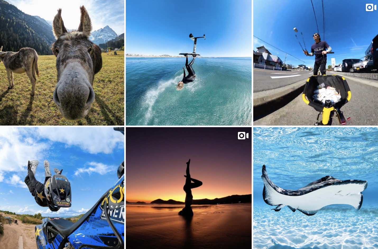 grid of gopro instagram page