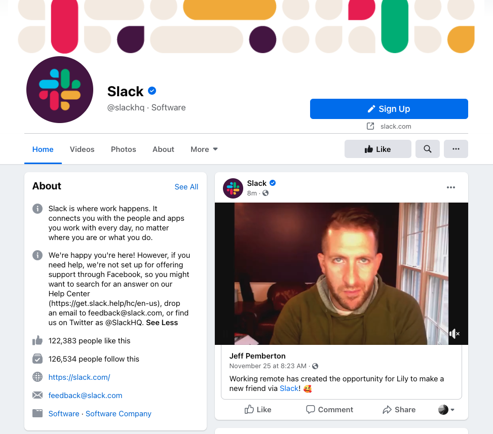 screenshot of slack facebook page featuring post of man in green sweatshirt