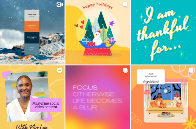 grid from canva instagram page showing colorful posts