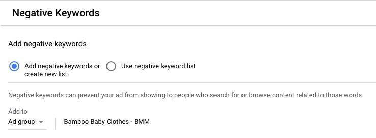 Adding negative keywords in Google Ads