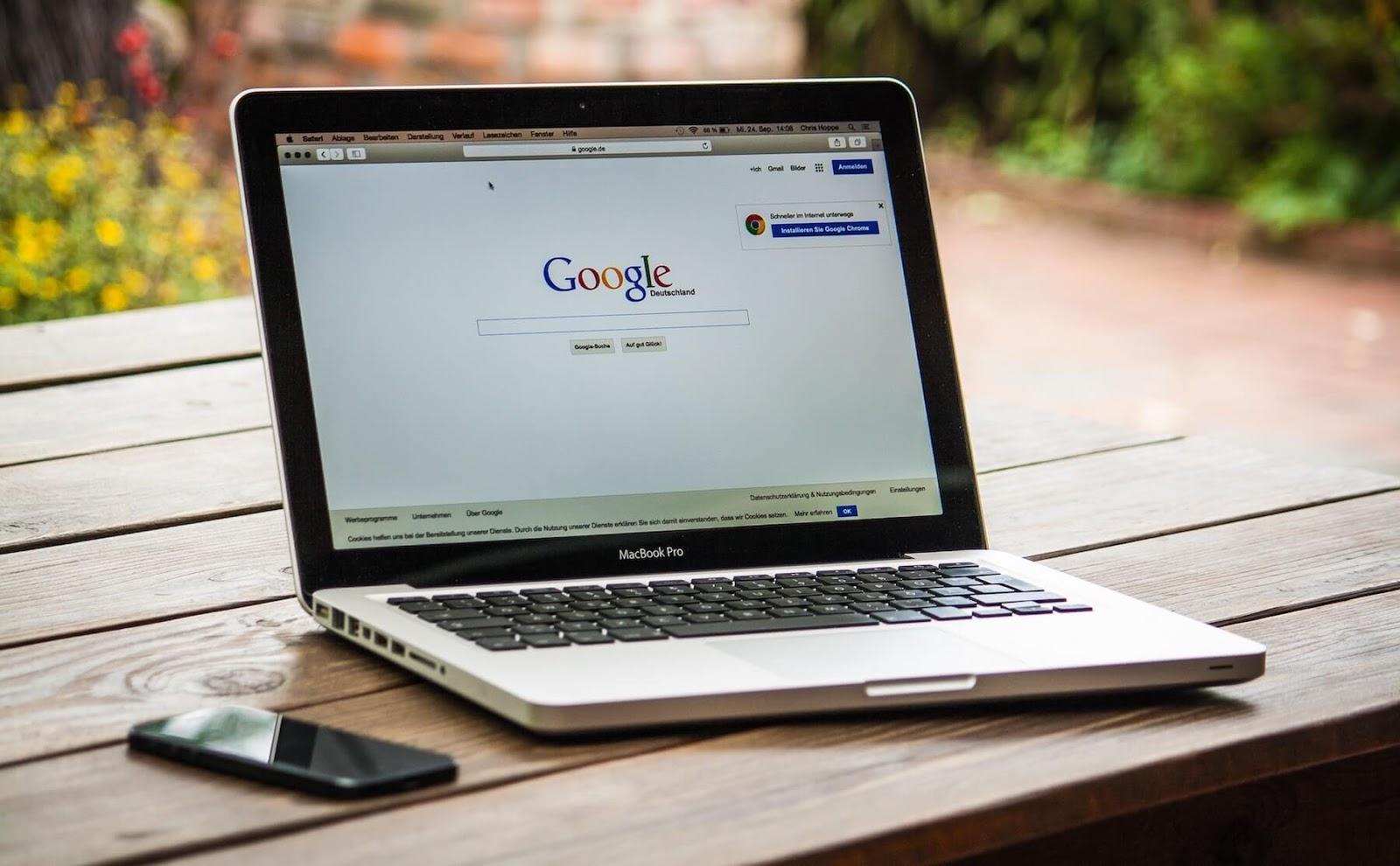Google search on laptop