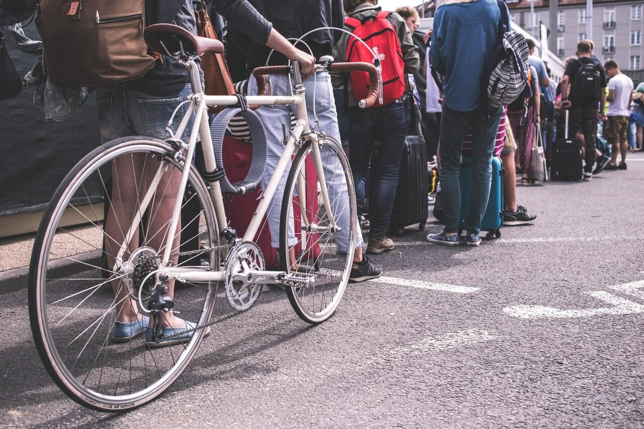 queue line on a city street colorful bicycle pavement
