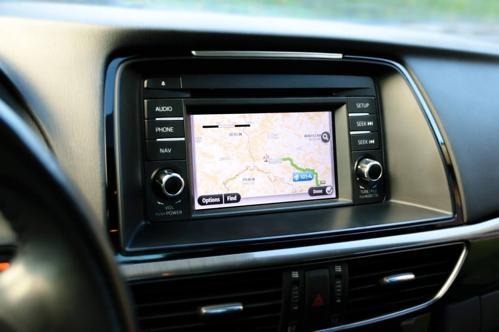 GPS navigation screen in a car