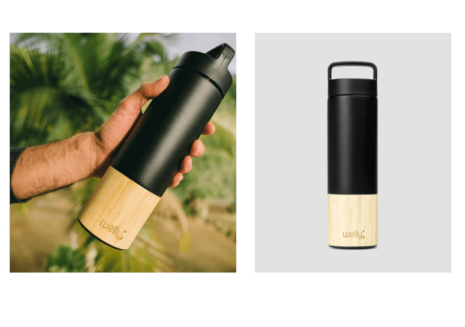 Two images of Welly Water bottles, one being held by a person and the other against a plain backdrop.