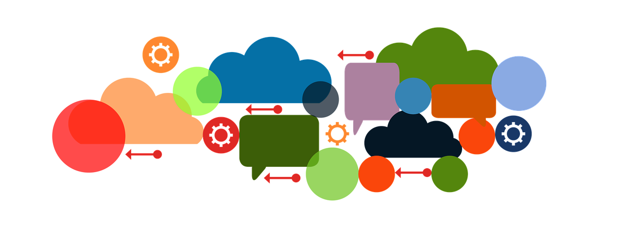 clouds, speech bubbles, gears, and circles representing the process of marketing and ideas.