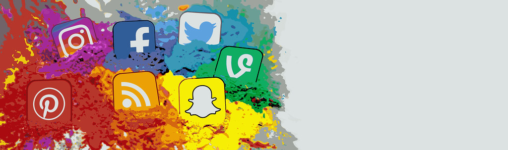 different social media platforms surrounded by their pops of color.