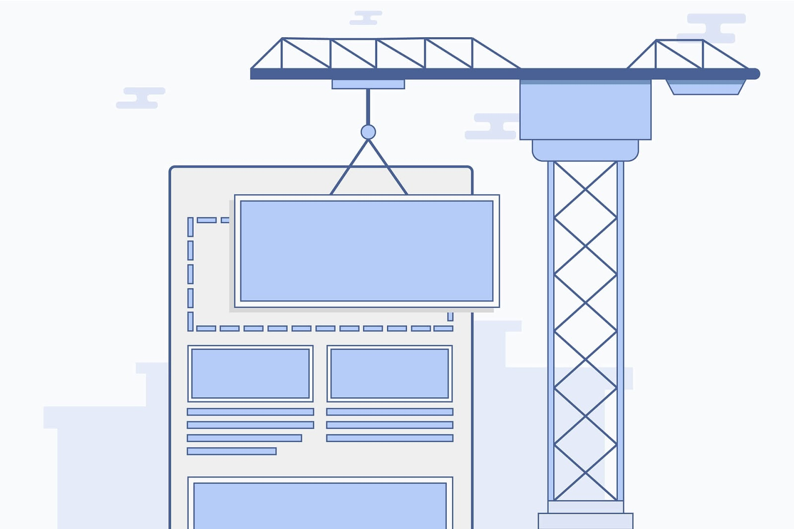 construction crane putting a webpage together