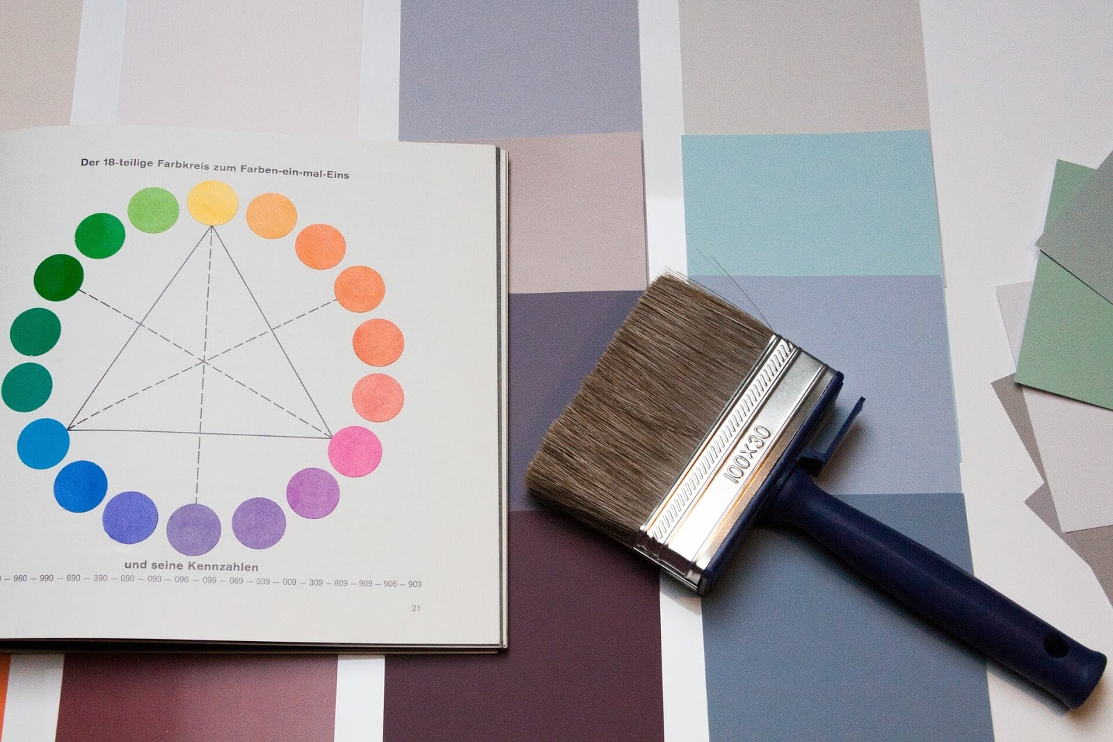 paintbrush and book open to page about color theory sitting on top of different color swatches