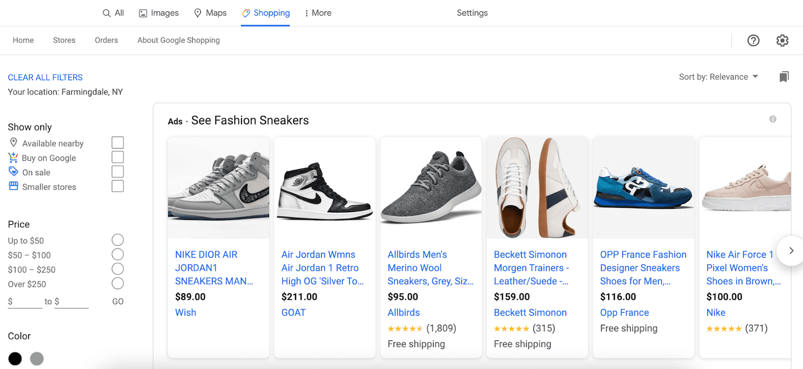 google shopping UI with sneakers from various brands