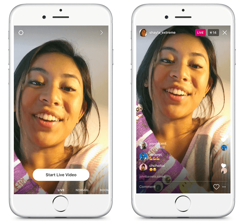young woman going live on Instagram graphic how to
