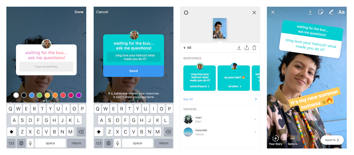 question and answer example instagram story four panels